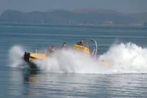 Venture Jet boat power braking fun off St Davids coast