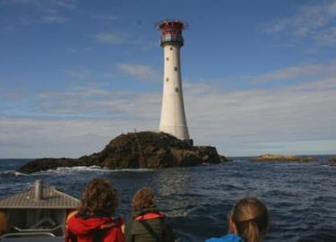 Smalls Lighthouse and Venture Jet boat offshore Pembrokeshire Island trip Celtic Deep
