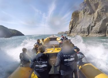 Fun spray with Venture Jet boat trip St Davids Pembrokeshire