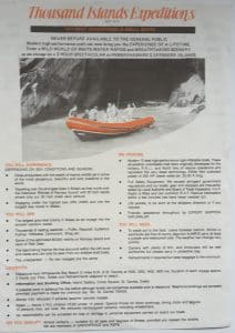 Early 1980s Thousand Island Expeditions brochure