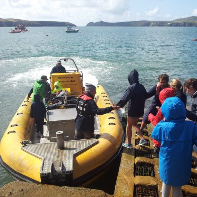 Venture Jet boat departing from slipway at St Justinian St Davids