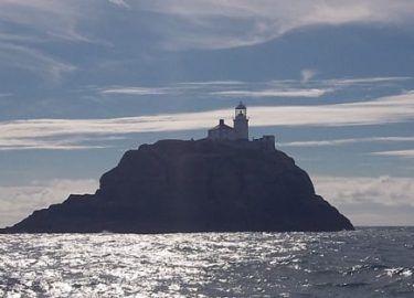 South Bishop lighthouse Pembrokeshire Island visited on Venture Jet wildlife tour