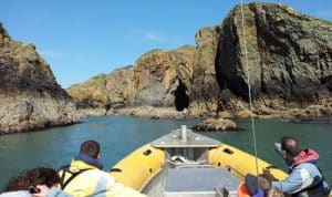 Venture Jet Ramsey Island family wildlife boat trip on calm sunny day