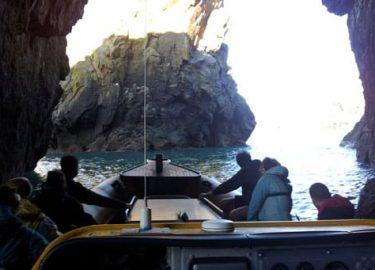 Pembrokeshire sea cave with Venture Jet jet boat St Davids
