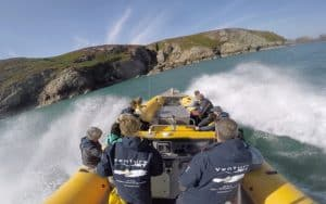 Venture Jet boat doing Hamilton turn or jet boat spin