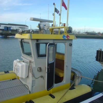 Ocean Dynamics aluminium Ribworker jet boat refit from open to cabin RIB with wheelhouse